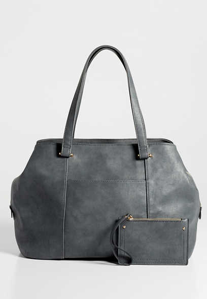 large faux leather satchel