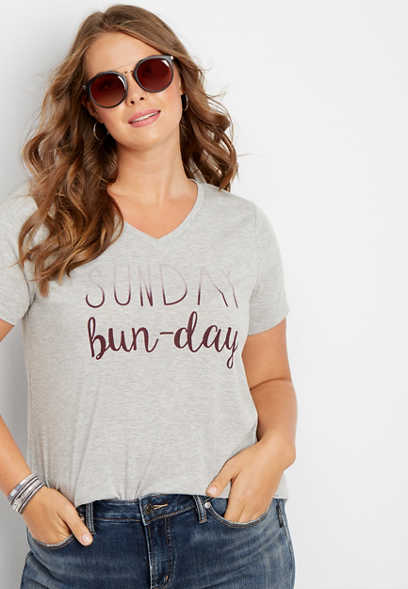 plus size Sunday bun-day graphic tee