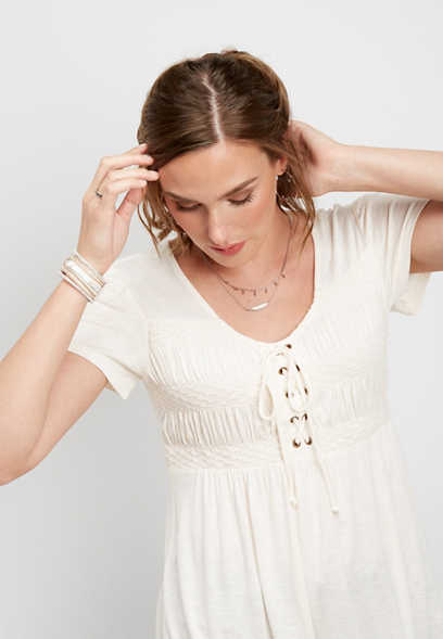 lace up smock bust tee