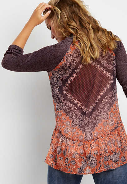 printed back cardigan