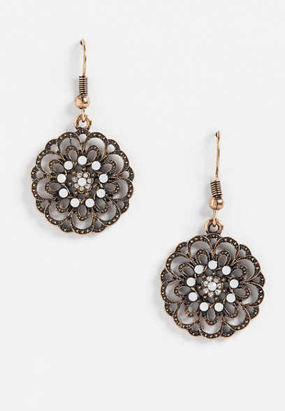 medallion drop earrings