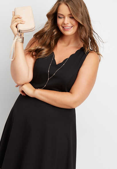 plus size scalloped ponte skater dress