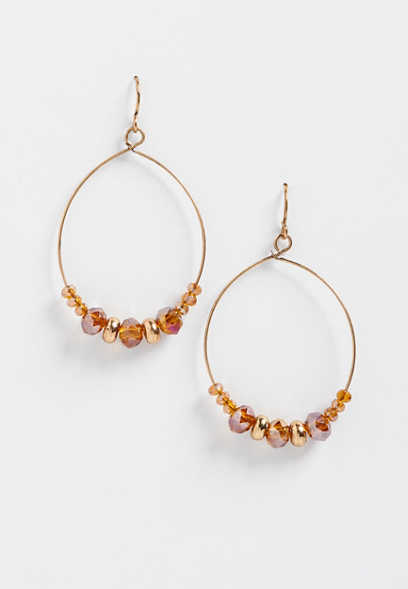 golden bead hoop earrings