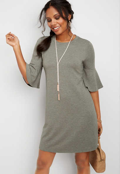 24/7 solid bell sleeve dress