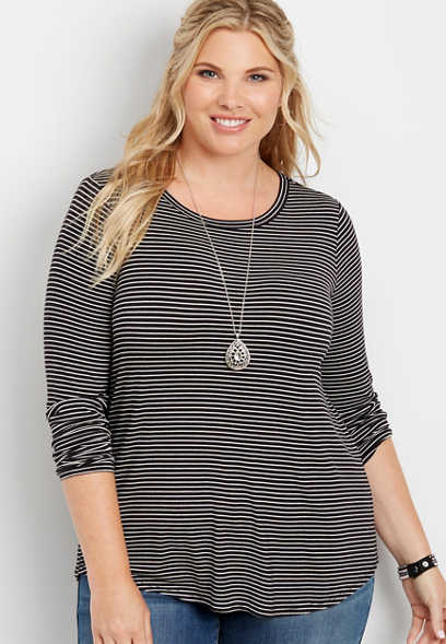 plus size striped long sleeve tee