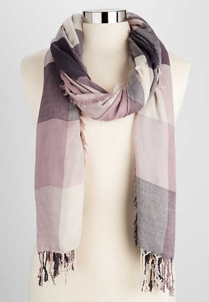 plaid oblong scarf