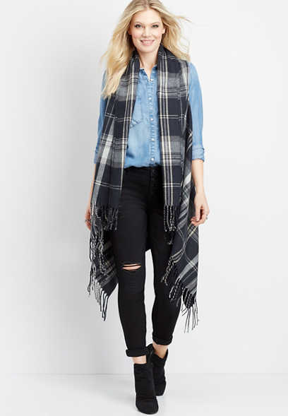 long plaid fringe vest