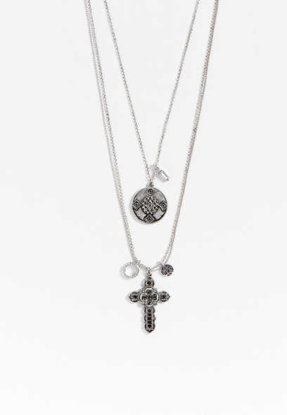 multi row cross and medallion necklace