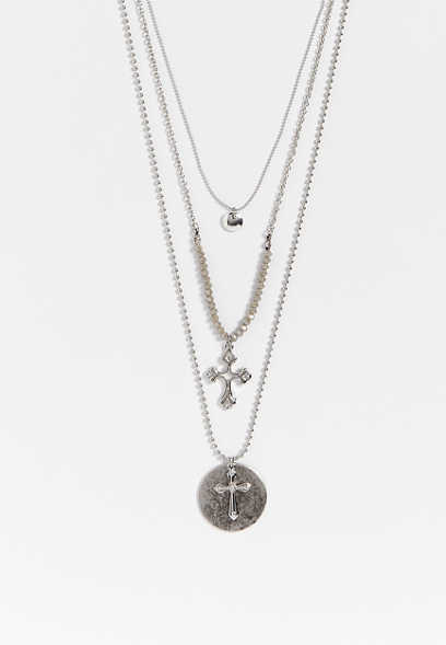 three row bead and cross necklace