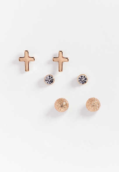 three piece stud cross earring set