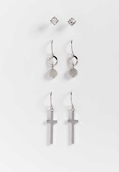 three piece cross drop earring set