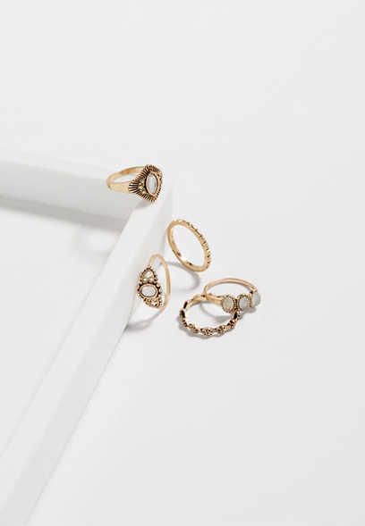 Maurices Five Piece Dainty Ring Set d2UME