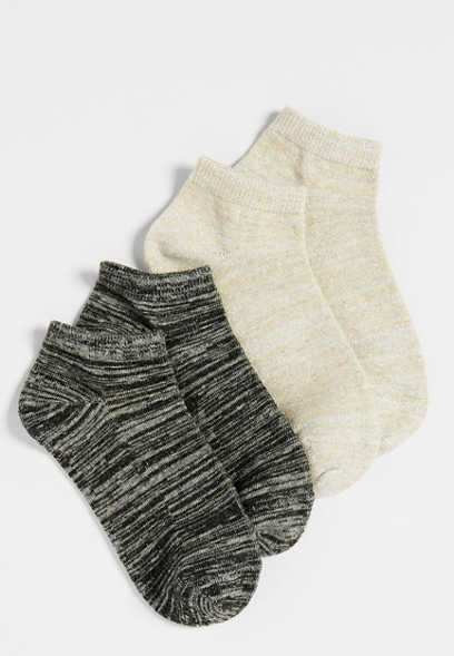 lurex two pack knit ankle sock