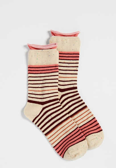 roll top striped ankle sock