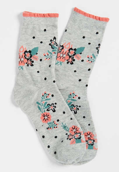 floral dot ankle sock