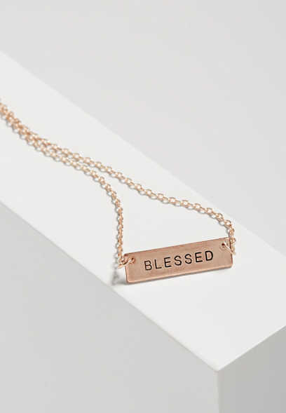 blessed tag necklace