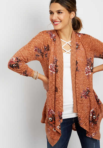 open front floral cardigan