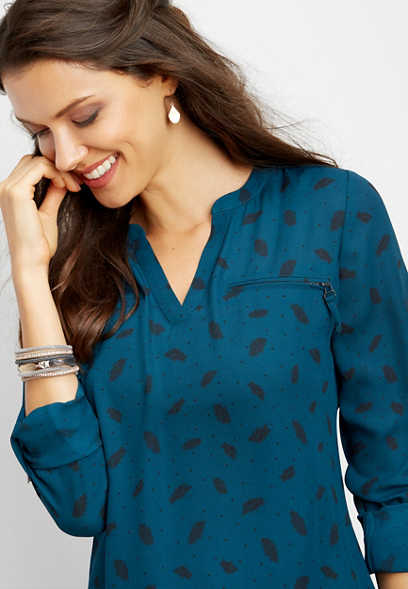 feather dot print zipper tunic blouse