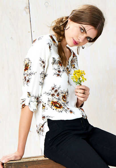 floral zip front tunic blouse