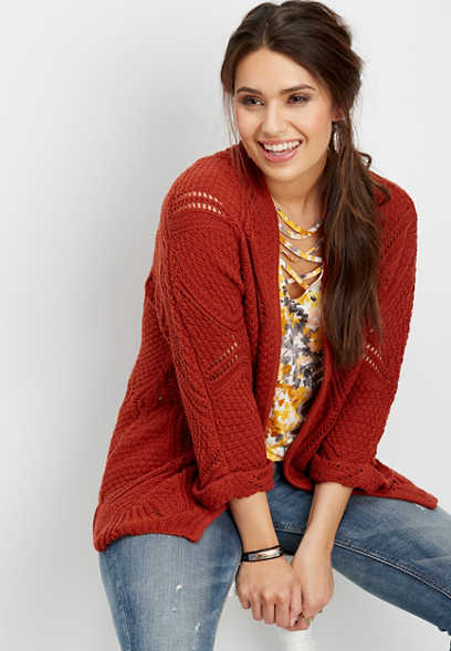 diamond stitch sweater cardigan