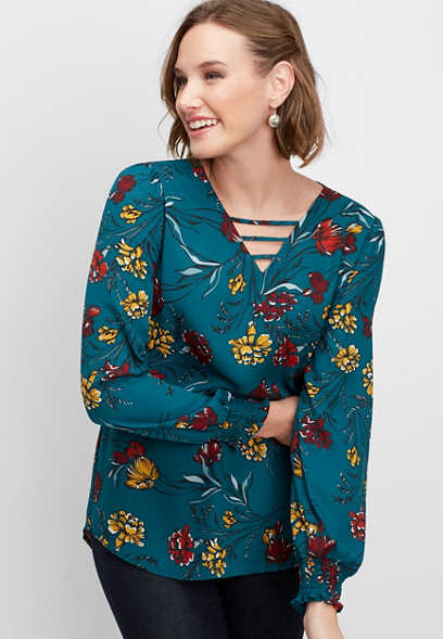 lattice neck floral blouse