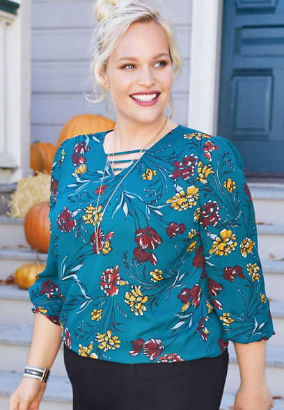 plus size floral lattice neck smocked sleeve blouse