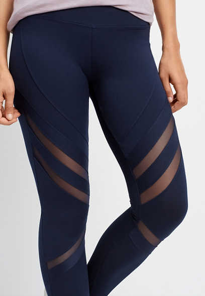 mesh inset 7/8 length legging