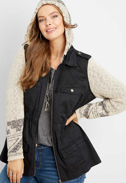 plus size patterned sweater twill jacket