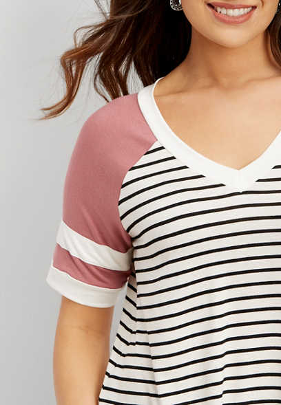 24/7 skinny stripe football tee