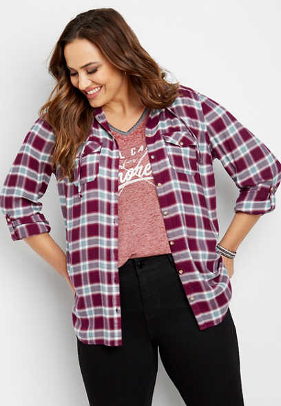 plus size hooded plaid button down shirt