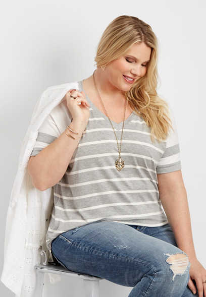 plus size 24/7 striped football tee