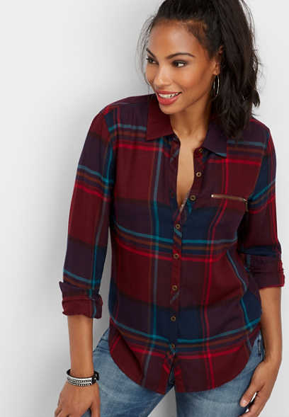 zipper pocket plaid button down shirt
