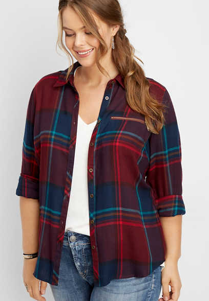 plus size zipper pocket plaid button down shirt
