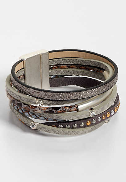 multi row gray magnet bracelet
