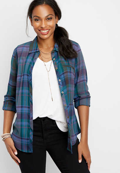 plaid zipper pocket button down shirt