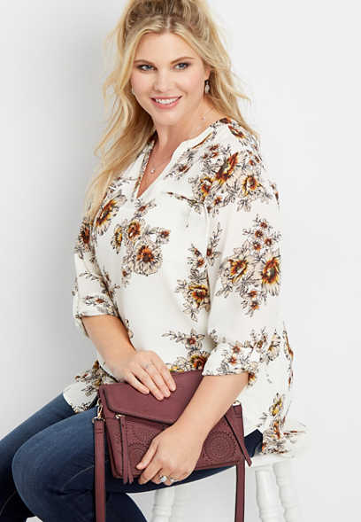 plus size floral zip front tunic blouse