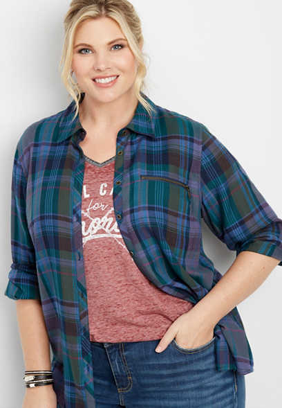 plus size plaid zipper pocket button down shirt