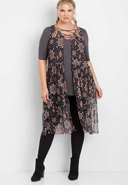 plus size printed mesh duster