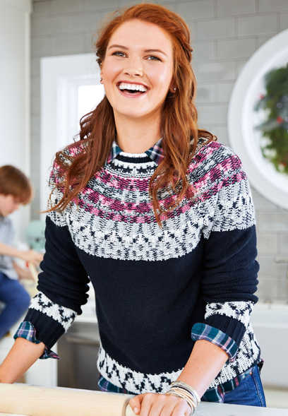 fairisle print pullover sweater