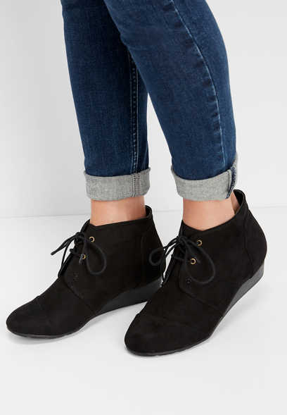 MIA Sarah lace up wedge bootie