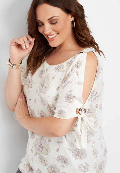 plus size floral grommet cold shoulder tie tee