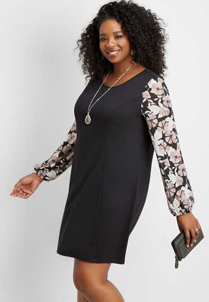 plus size floral chiffon sleeve shift dress