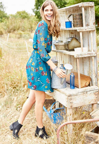 chiffon floral print dress