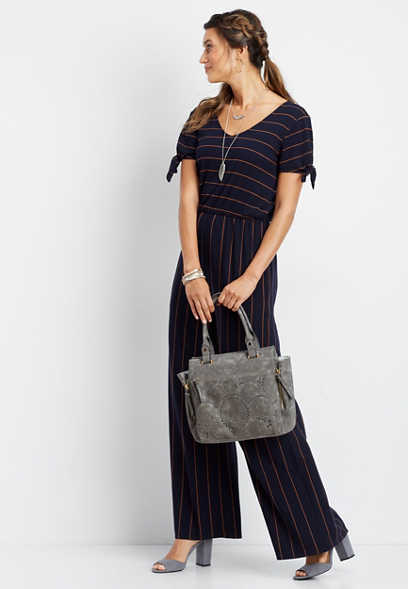 cap sleeve vertical stripe jumpsuit