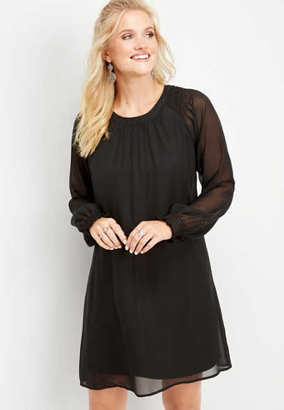 smock sleeve solid shift dress