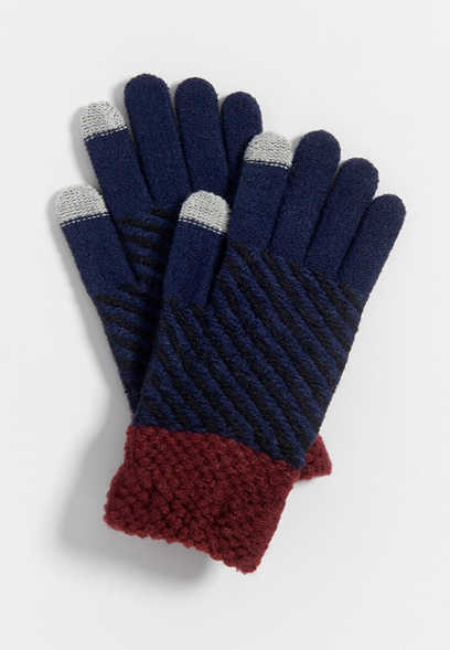stripe tech finger knit glove