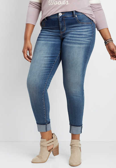 plus size DenimFlex™ medium wash cuffed jegging