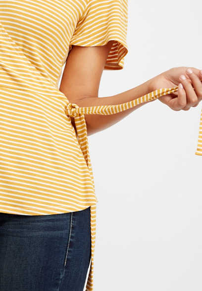 24/7 striped wrap front tee