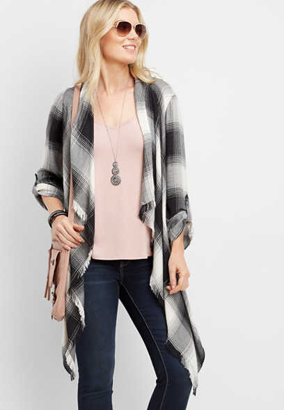 plaid print wrap