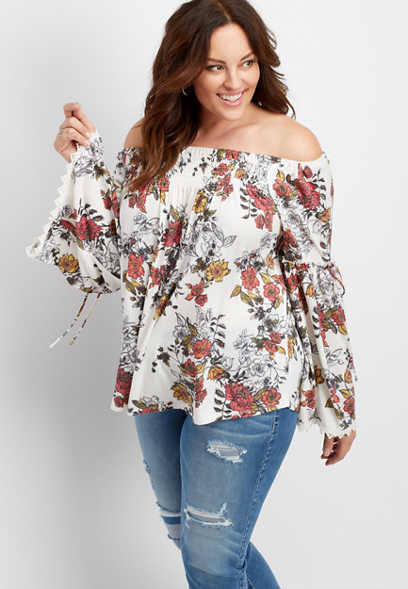 plus size floral off the shoulder tee